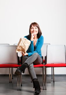 Free Happy Young Woman Sitting And Looking Up Stock Photo - 13860530