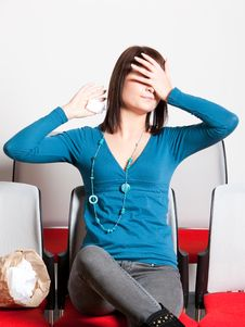 Free Scared Woman Covering Eyes With Hand Royalty Free Stock Images - 13860589