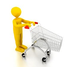 Free Person With Shoping Cart Over White Royalty Free Stock Photos - 13860908