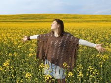 Free Beautiful Woman In Field With Yellow Flowers. Royalty Free Stock Images - 13860919