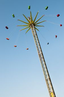 Modern Lift Chairoplane Carousel On Fun Fair Royalty Free Stock Photo