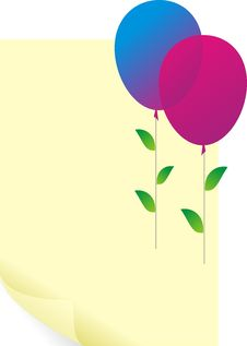 Free Color Balloons With Green Leaves And Paper Blank Royalty Free Stock Photos - 13862058