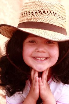 Free Cute Little Girl In Cowboy Hat Royalty Free Stock Images - 13862109