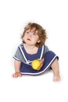 Free Toddler Girl With Green Apple Stock Photos - 13862373