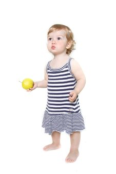 Free Cute Toddler Girl With Green Apple Stock Photography - 13862402