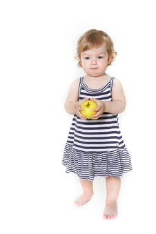 Free Adorable Toddler Girl With Green Apple Stock Image - 13862431