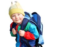 Free The Boy Is Unbuttoned Empty Backpack, Insulated Royalty Free Stock Photography - 13863017