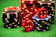 Free Casino Chips And Bones Background Royalty Free Stock Image - 13863066