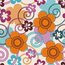 Free Seamless Pattern With Flowers Royalty Free Stock Image - 13863596