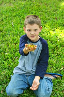 Free Handsome Little Boy Showing Off His Frog Stock Image - 13864281