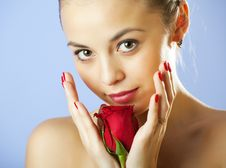 Free Studio Portrait Of Sensual  Woman With Rose Stock Images - 13864334