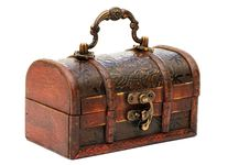 Free Single Closed Wooden Chest With Metal Ornament Stock Photo - 13864470