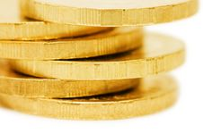 Free Golden Coins Isolated Over White Stock Photography - 13864492