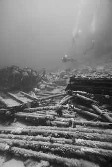 Ship Wreckage On The Ocean Floor. Royalty Free Stock Photography