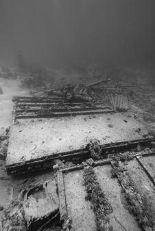 Ship Wreckage On The Ocean Floor. Stock Photo