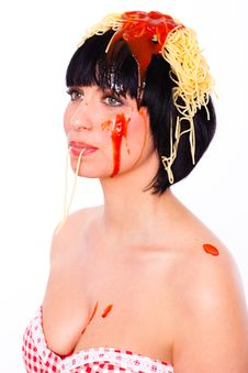 Free Pasta Woman Stock Image - 13865321