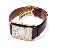 Free Golden Wristlet Watch Isolated Royalty Free Stock Image - 13867106