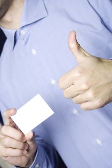 Business Man Holding Blank Card. OK Stock Photo