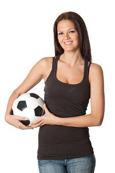 Free Attractive Young Woman With Soccer Ball Stock Photo - 13867250