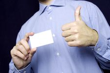 Free Business Man Holding Blank Card. OK Stock Images - 13867264