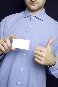 Free Business Man Holding Blank Card. OK Stock Photos - 13867313