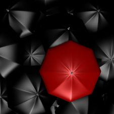 Free A Red Umbrella Among The Rest - 3d Image Stock Photos - 13867993