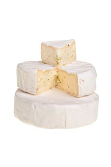 Free Stacked Round Camembert Cheese Blocks. Royalty Free Stock Image - 13868156