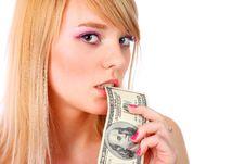 Free Woman Holding Money Stock Photography - 13868442