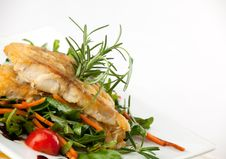 Fillet Of White Fish And Vegetables Stock Image