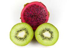 Kiwi And Dragon Fruit Royalty Free Stock Photo