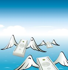 Free Flying Moneys Royalty Free Stock Image - 13869466