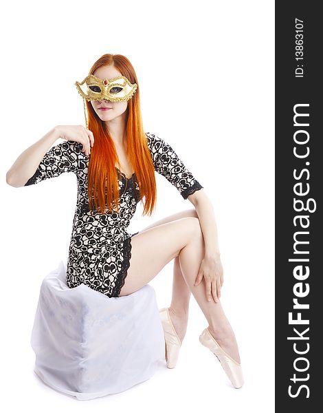 Ballet dancer with venetian mask
