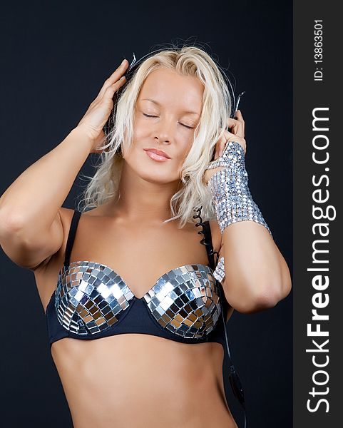 Woman listening music with passion