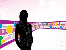 Free Businesswoman With Abstract Wave Background Stock Image - 13870301