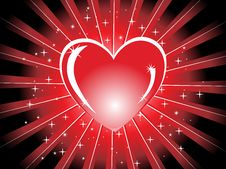 Free Red Shiny Heart With Rays,  Illustration Stock Images - 13870324