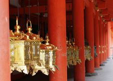 Free Golden Lanterns And Red Pillars Stock Photos - 13870643