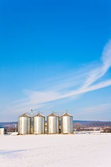 Beautiful Landscape With Silo And Snow