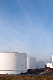 Free White Tanks In Tank Farm With Blue Sky Royalty Free Stock Image - 13871226