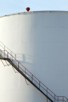 Free White Tanks In Tank Farm With Blue Clear Sky Stock Photo - 13871330