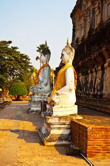 Free Buddha Statues At The Temple Of Wat Yai Chai Mongk Royalty Free Stock Image - 13871646