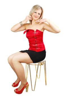 Free Attractive Woman On The Stool Stock Photo - 13871670