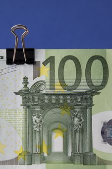 Free Euro Banknote With Binder Clip Royalty Free Stock Image - 13871736