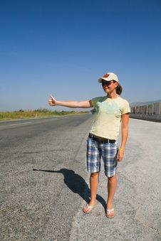 Free Hitchhiking The Road Stock Photos - 13875283