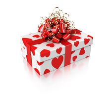 Free White Gift With Hearts Royalty Free Stock Images - 13875589