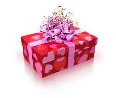 Free Red Gift With Pink Ribbon Stock Photography - 13875592