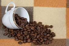 Free Porcelain Cup With Coffee Grains Stock Photos - 13876453