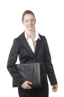 Free Businesswoman With Black Book Royalty Free Stock Images - 13876529