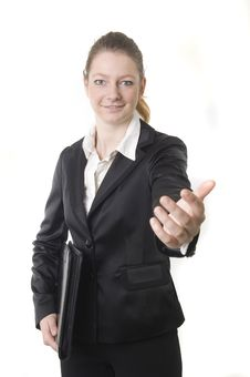Free Businesswoman With Black Book Stock Images - 13876534