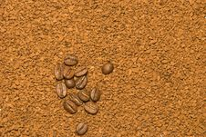 Free Coffee Beans On Instant Coffee Background Royalty Free Stock Image - 13876636