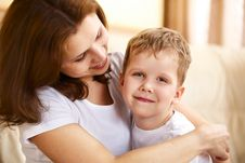 Free Mother Hugging Her Little Son Stock Images - 13877024